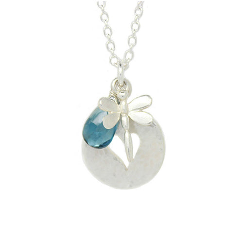 Dragonfly Heart Disc London Blue Topaz Necklace ,[product vendor],JewelStreet