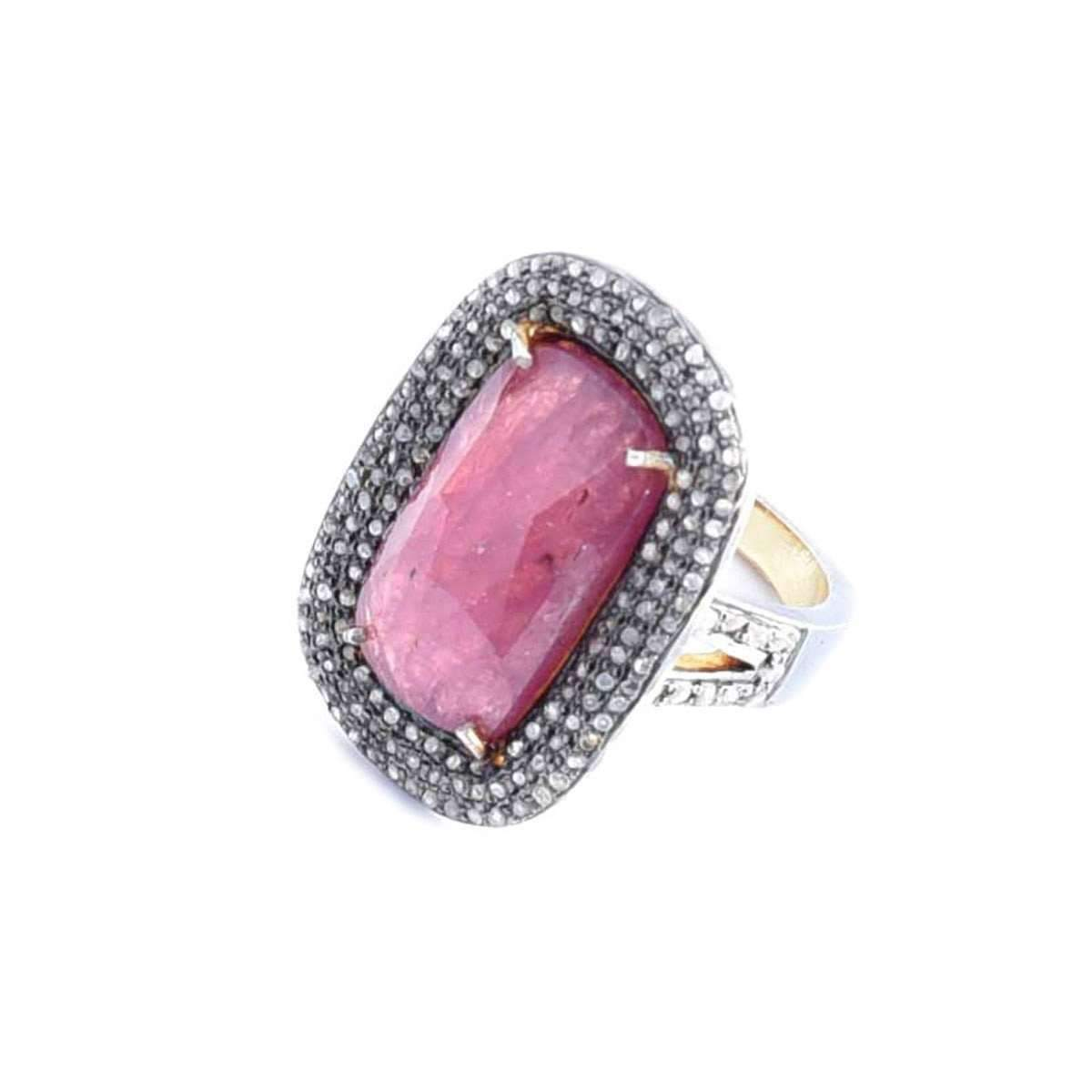 Drop Dead Red Multi Sapphire Ring with Diamonds-M's Gems by Mamta Valrani-JewelStreet US