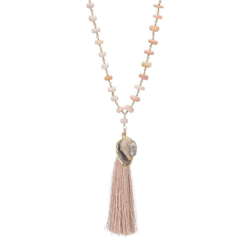 Druzy Seashell With Silk Tassel On A Pink Opal Necklace-Necklaces-Heather Kenealy Jewelry-JewelStreet