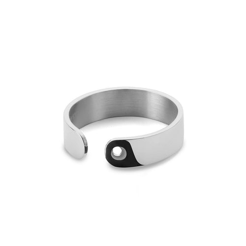 Duo Ring in Shiny White Gold Plated-Rings-EKRIA-JewelStreet