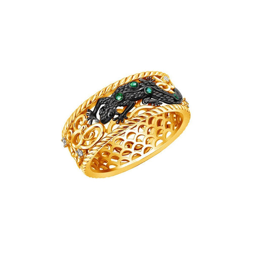 Earth Element Lizard Ring With 16 Diamonds ,[product vendor],JewelStreet