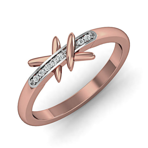 Elegant Diamond Ring in 18kt Rose Gold-Rings-Diamoire Jewels-JewelStreet