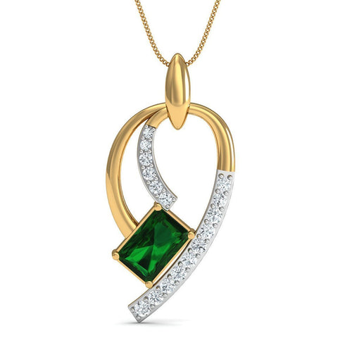 Emerald Cut Emerald Pendant with Premium Diamonds in 10kt Yellow Gold-Necklaces-Diamoire Jewels-JewelStreet
