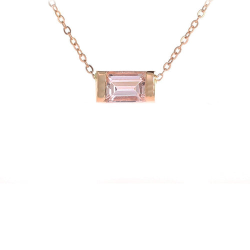 Emerald Cut Morganite Necklace-Necklaces-Oh my Christine Jewelry-JewelStreet