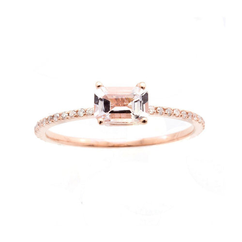 Emerald Cut Pink Morganite Ring-Rings-Oh my Christine Jewelry-JewelStreet