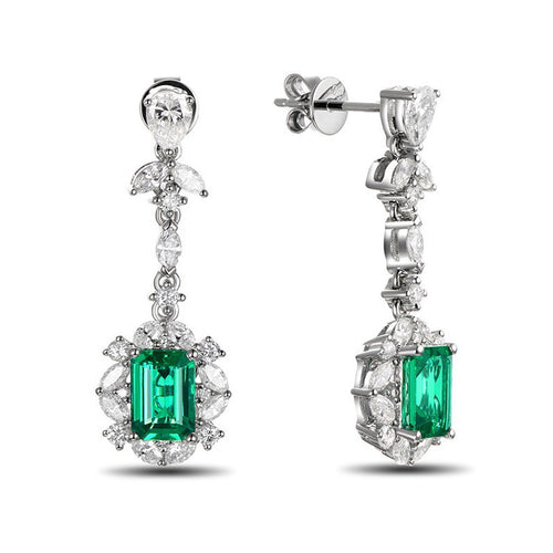 Emerald Diamond Earrings-Earrings-SILVER YULAN-JewelStreet