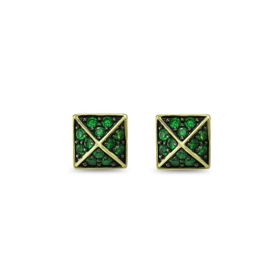 Empire Pave Square Stud Earring-Earrings-REALM-JewelStreet