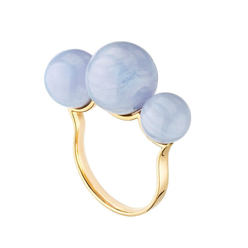 Empress Ring - Pink Gold Ring With Chalcedony-Rings-Mimata-JewelStreet