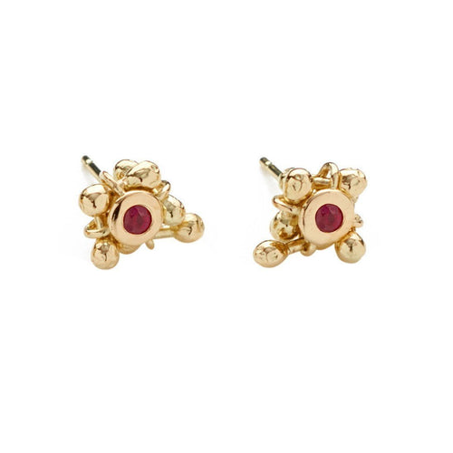 Enchantment Ruby Cluster Earrings-Earrings-Yen Jewellery-JewelStreet
