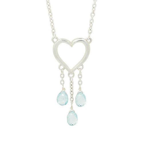 Endless Love Triple Drop Blue Topaz Necklace ,[product vendor],JewelStreet