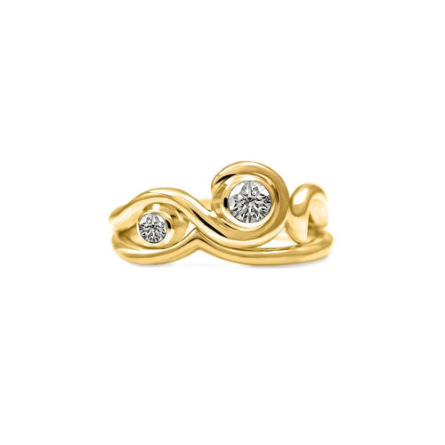 Entwine Two Stone Ring In Gold With Diamond-Rings-Elinor Cambray Jewellery-JewelStreet