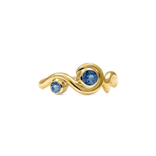Entwine Two Stone Ring In Gold With Sapphire-Rings-Elinor Cambray Jewellery-JewelStreet