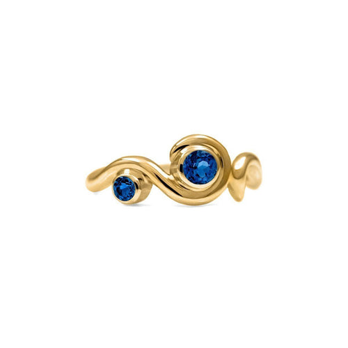 Entwine Two Stone Ring In Gold With Sapphire ,[product vendor],JewelStreet