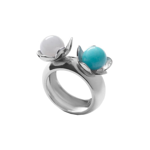 Étoile Chanceuse Ring In Silver, Opal And Amazonite-Rings-Jewellery Design Marie-Benedicte-JewelStreet