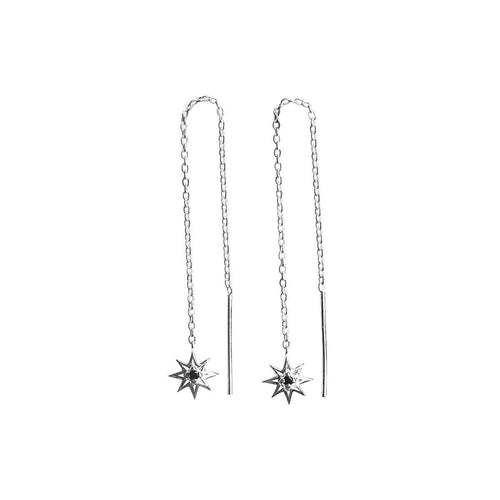 Falling Star Thread Earrings In Sterling Silver And Black Spinel Stone ,[product vendor],JewelStreet