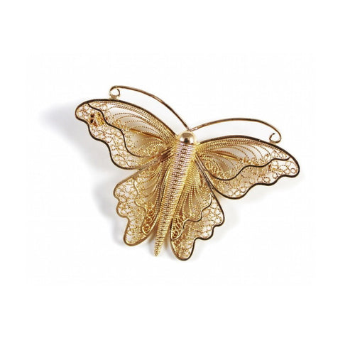 Filigree Monarch Butterfly Brooch in 24kt Rose Gold Plated-Brooches-Agora Jewellery-JewelStreet