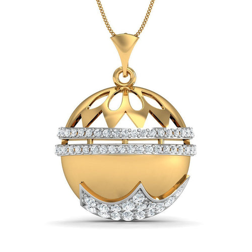 Finest 14kt Yellow Gold and Premium Diamond Pave Set Pendant-Necklaces-Diamoire Jewels-JewelStreet
