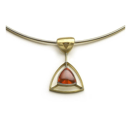 Fire Opal Trillion Pendant on Flexible Torque-Necklaces-Julia Lloyd George-JewelStreet