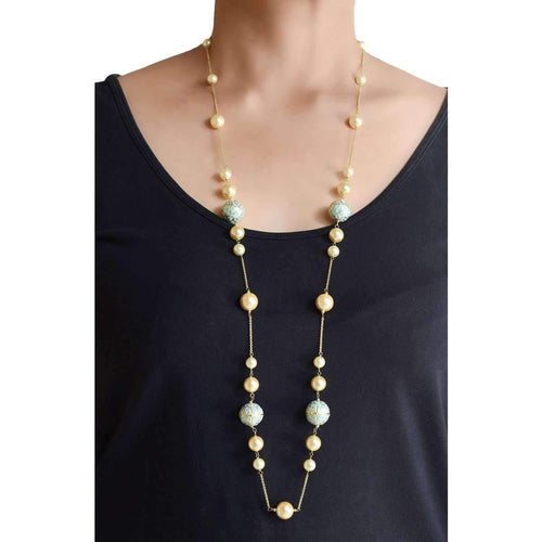 Firoza Chain With Pearls, Enamel Beads, And Turquoise-M's Gems by Mamta Valrani-JewelStreet US
