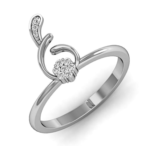 Fish Shaped Diamond Ring in White Gold-Rings-Diamoire Jewels-JewelStreet