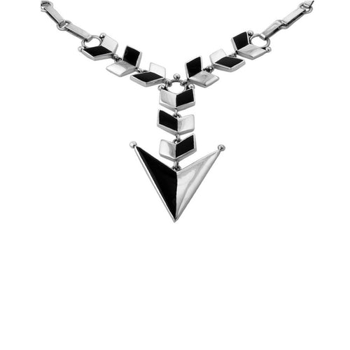 Flecha Necklace With Onyx Inlay ,[product vendor],JewelStreet