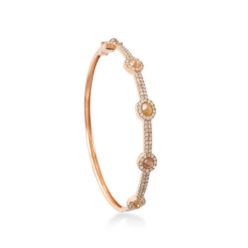 Floral Gold and Diamond Bangle-Bracelets-Socheec-JewelStreet