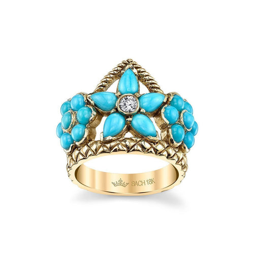 Flower Crown Ring With Turquoise And Diamond-Rings-Cynthia Bach-JewelStreet