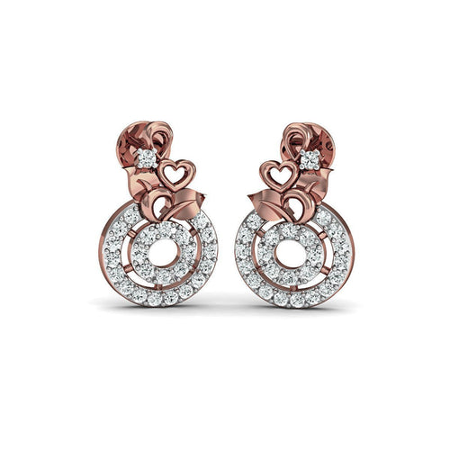 Floweret 18kt Rose Gold Diamond Stud Earrings-Earrings-Diamoire Jewels-JewelStreet