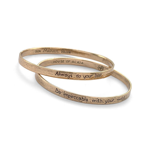 Four Agreements Reminder Bangle Set In Bronze Small-Bracelets-House of Alaia-JewelStreet