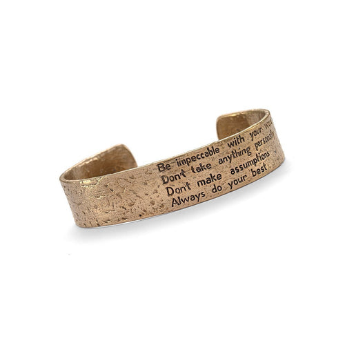 Four Agreements Reminder Cuff In Bronze Small-Bracelets-House of Alaia-JewelStreet