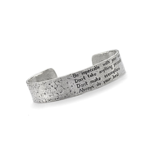 Four Agreements Reminder Cuff In Silver Small-Bracelets-House of Alaia-JewelStreet