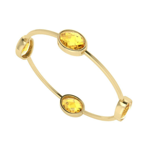 Four Stone Oval Citrine Gold Plated Bangle-Bracelets-StyleRocks-JewelStreet