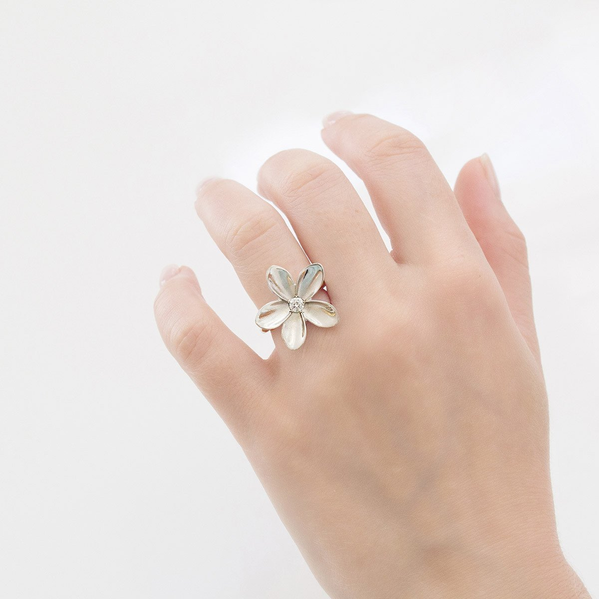 Frangipani Single Flower Ring-Rings-freeRange JEWELS-JewelStreet