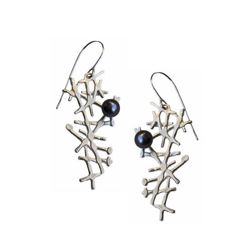 Free Spirit Earrings Black Pearls-Earrings-Katerina Damilos-JewelStreet