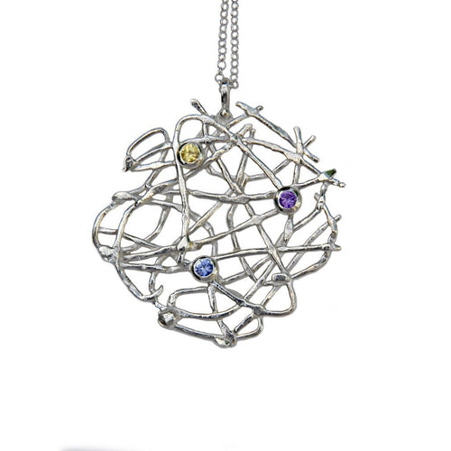 Free Spirit Necklace Silver With Sapphires-Necklaces-Katerina Damilos-JewelStreet