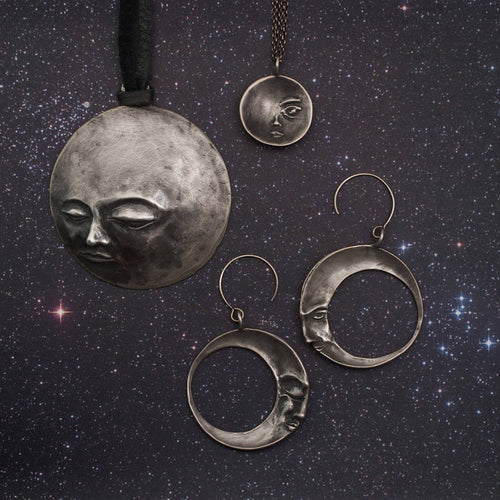 Full Moon on a Starry Night Necklace-Necklaces-ileava jewelry-JewelStreet