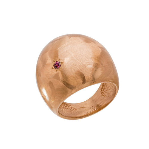 Garnet Veneto Dome Ring-Rings-Mishanto London-JewelStreet