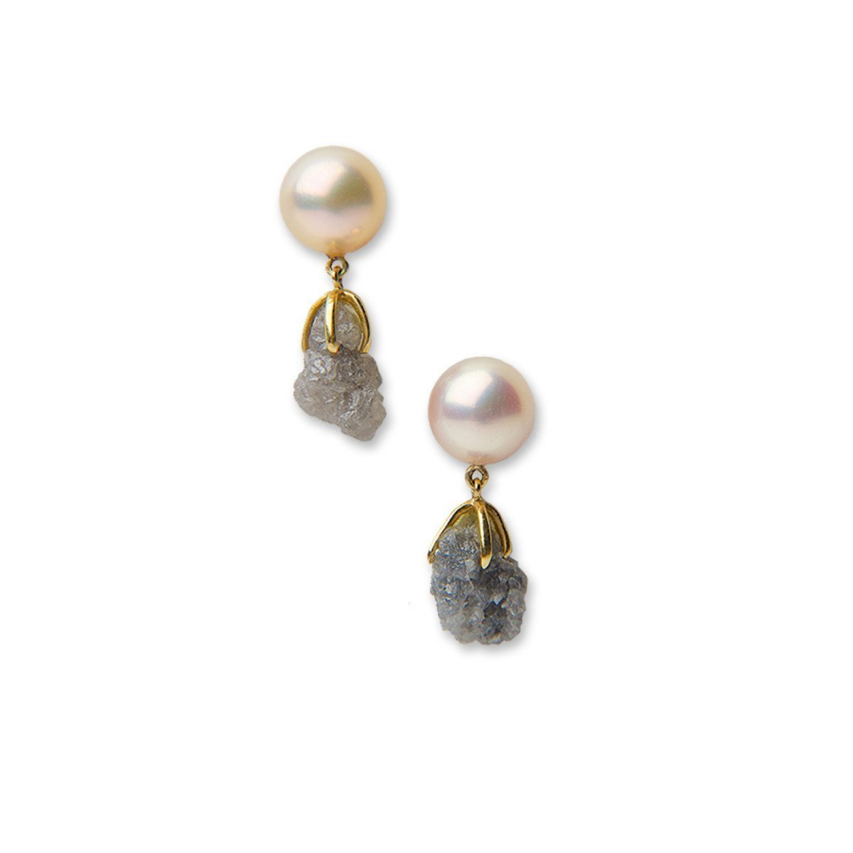 Gemmy Cfp Studs With Diamond Rough Drops-Earrings-Katura-JewelStreet