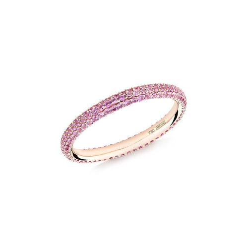 Gemopoli 3 Row Pink Sapphire Ring In Rose Gold ,[product vendor],JewelStreet