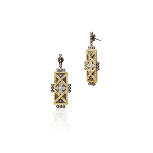 Geometric Stripe Clover Bar Earrings-Earrings-Freida Rothman-JewelStreet