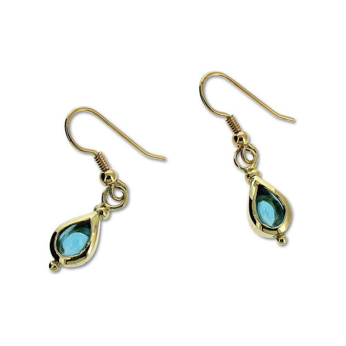 9kt Blue Topaz Drop Earrings-Earrings-Will Bishop-JewelStreet