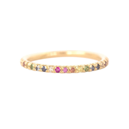 Gold & Rainbow Demi Pointe Ring-Rings-XISSJEWELLERY-JewelStreet