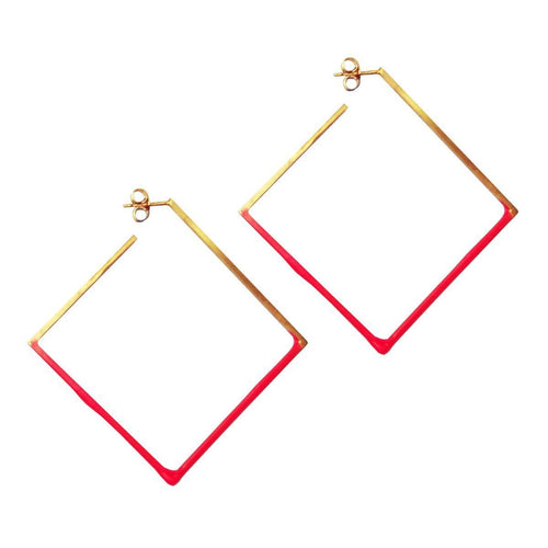 Gold and Hot Pink Square Hoops-Earrings-Stephanie Bates-JewelStreet