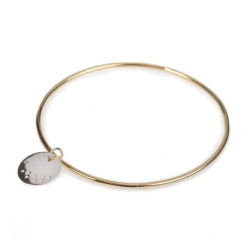 Gold Bangle With A Small Asanoha Charm-Bracelets-Maro-JewelStreet