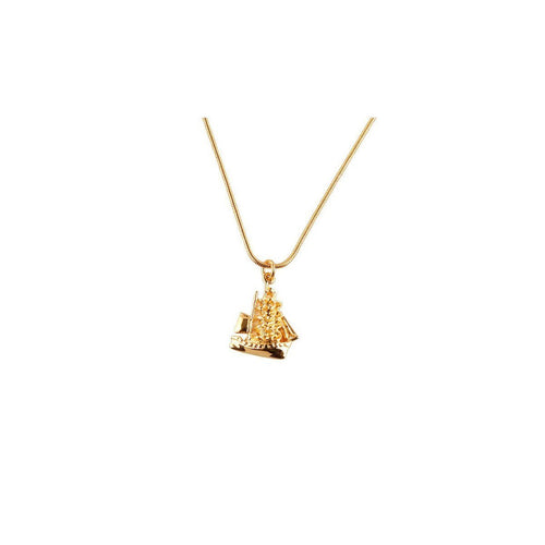 Gold Clipper ship Necklace-Necklaces-Roz Buehrlen-JewelStreet