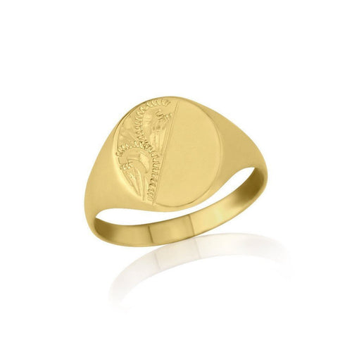 Gold Engraved Oval-Shaped Ladies Signet Ring-Rings-Star Wedding Rings-JewelStreet