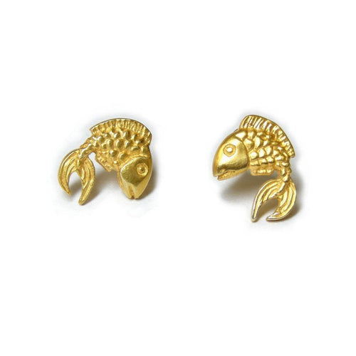 Gold Fish Earstuds-Earrings-Russell Lownsbrough-JewelStreet