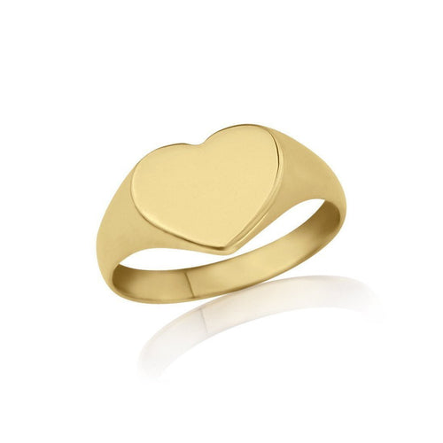 Gold Heart-Shaped Ladies Signet Ring-Rings-Star Wedding Rings-JewelStreet