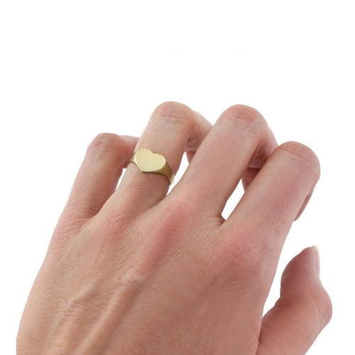 Gold Heart-Shaped Ladies Signet Ring ,[product vendor],JewelStreet
