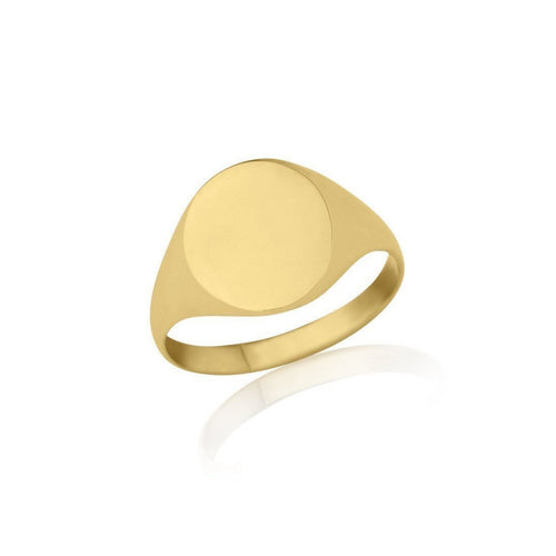 Gold Oval-Shaped Ladies Signet Ring-Rings-Star Wedding Rings-JewelStreet